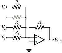 Inverting Opamp Amplifier Summing Amplifier